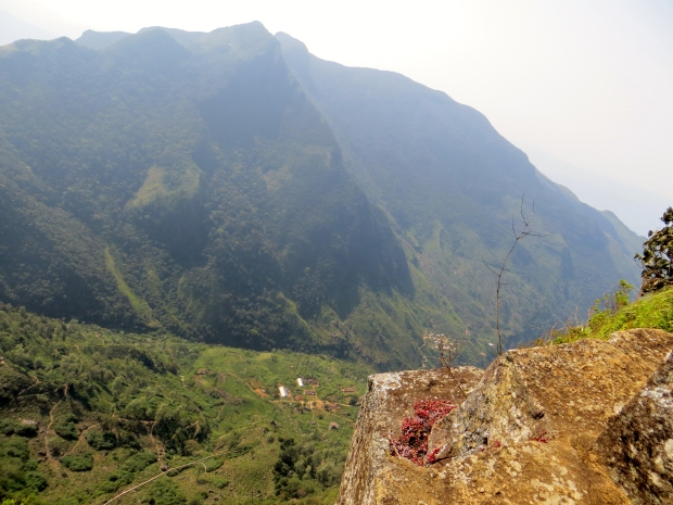 Trying to capture of two villages under the beautiful mountains, I had to lie on the edge.